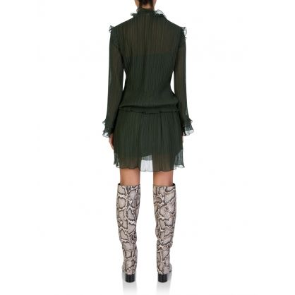 Green Soft Long-Sleeved Dress