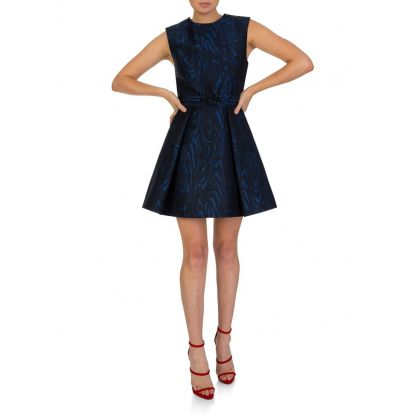 Navy Structured Fit & Flared Dress