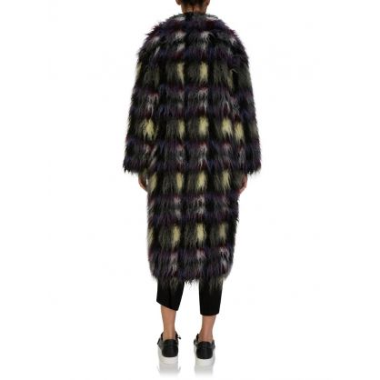 Grey Multicoloured Faux Fur Coat