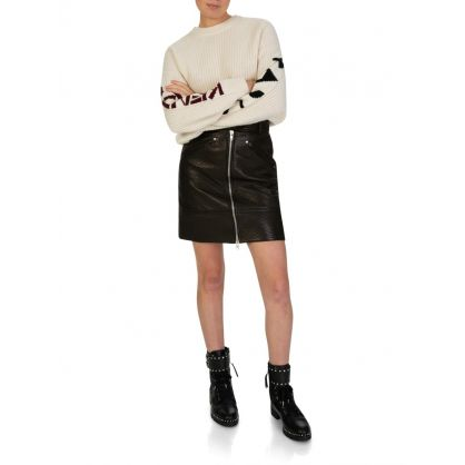 Black Leather Zip A-Line Skirt