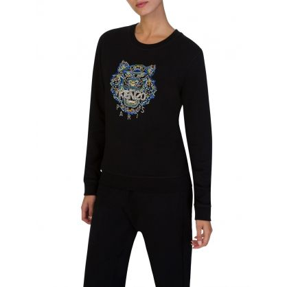 Black Beaded Tiger Sweatshirt