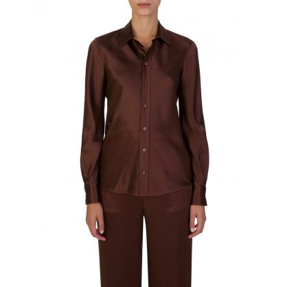 Brown Copper Silk Shirt