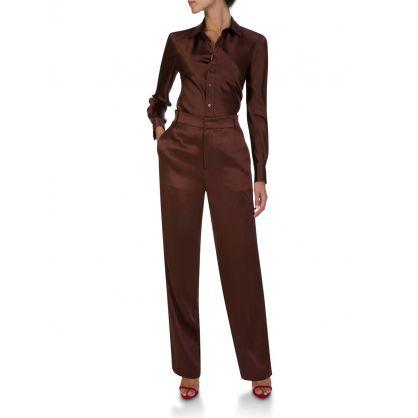 Brown Copper Silk Shirt