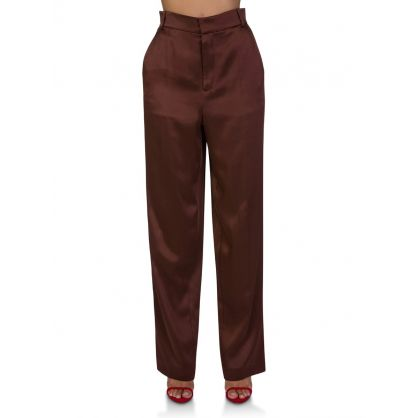 Brown Bronze Silk Trousers