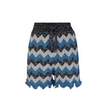Blue Knitted Lamé Shorts