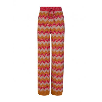 Orange Knitted Lamé Trousers