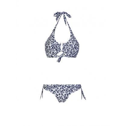 Navy Tanzania Leopard Print U Bar Bikini Top