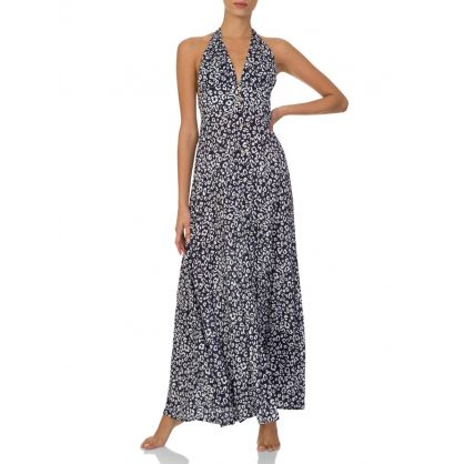 Navy Tanzania Leopard-Print Halterneck Maxi Dress