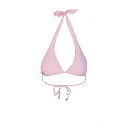 Pink Amelia Island Pom Pom Halter Neck Bikini Top