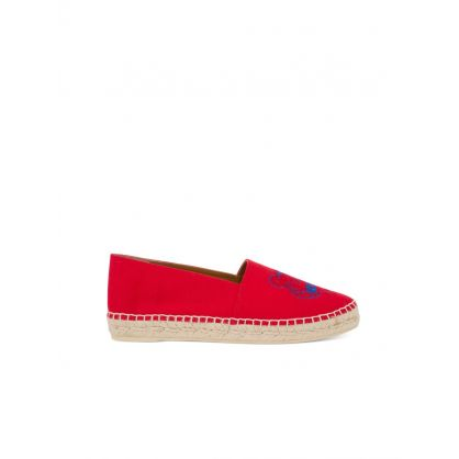 Red Canvas Tiger Head Espadrilles