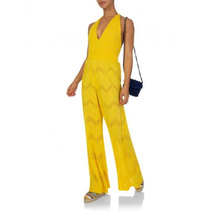 Missoni Yellow Tuta Lunga Plunge Jumpsuit