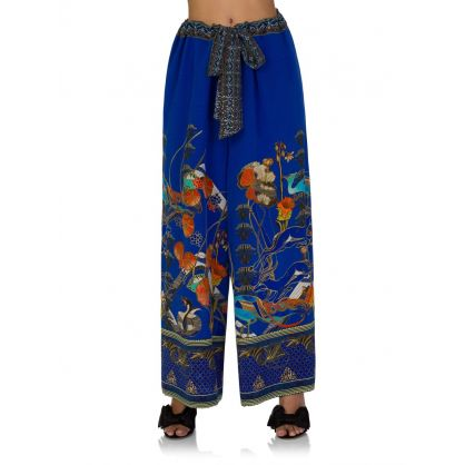 Blue Tree of Life Tie Waist Trousers