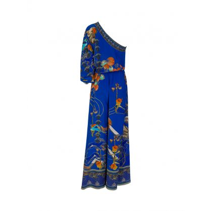Blue Tree of Life One Shoulder Jumpsuit