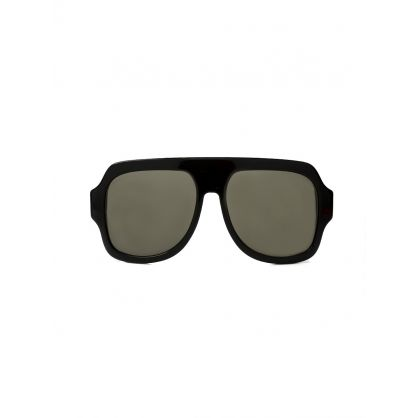 Black Large Frame Stripe Detail Sunglasses
