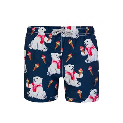 Navy Hungry Bear Swim Shorts