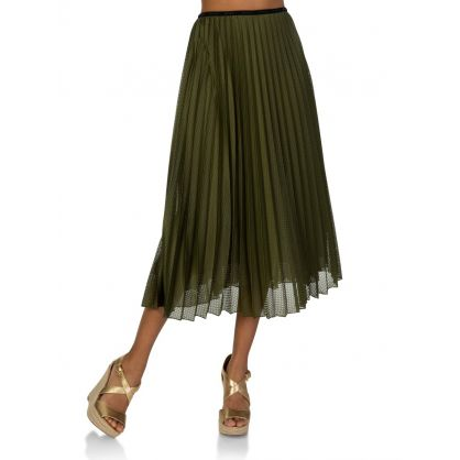 Green Pleated Skirt