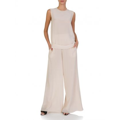 Pink Huland Silk Crepe De Chine Trousers