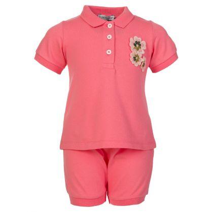 Pink Flower Polo Shirt Set