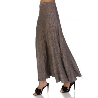 Beige Glitter Lurex Skirt