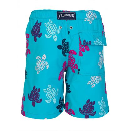 Junior Aqua Blue Turtle Swim Shorts