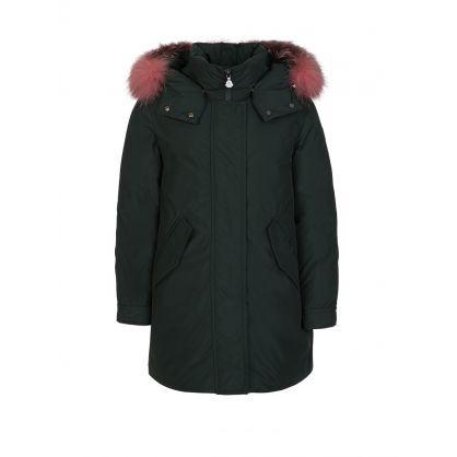 Green 'Hihiura' Hooded Puffer Jacket