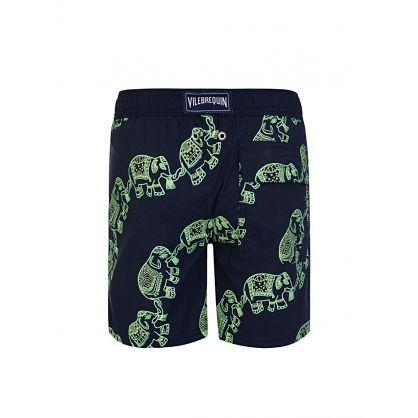 Junior Navy 'GLOW' Elephants Dance Swim Shorts