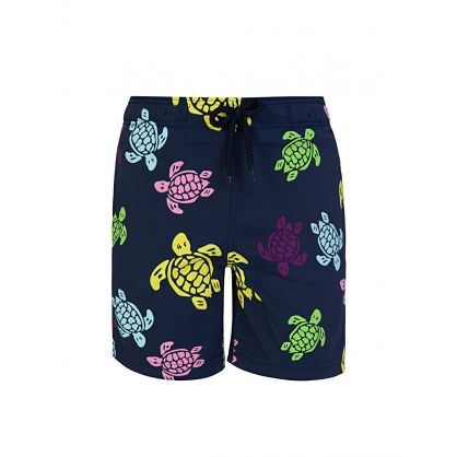 Junior Blue Turtle Print Swim Shorts
