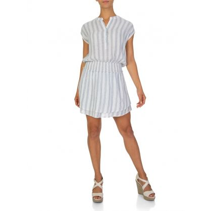White Striped Mini Dress