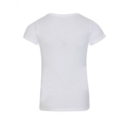 Kids White Triangle Glitter Core Logo T-Shirt