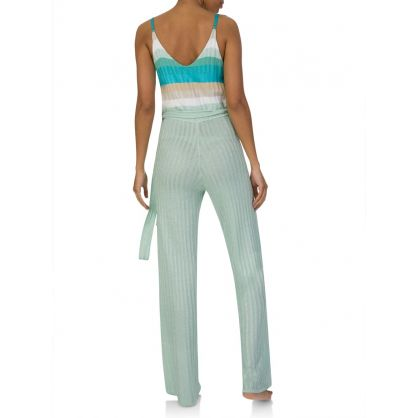 Mint Stripe Lurex Jumpsuit