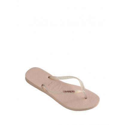 Pink Slim Logo Metallic Flip Flops