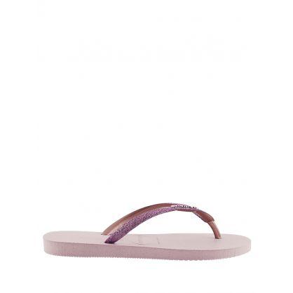 Pink Slim Glitter Flip Flops