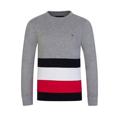 Grey Global Stripe Colour-Block Sweatshirt