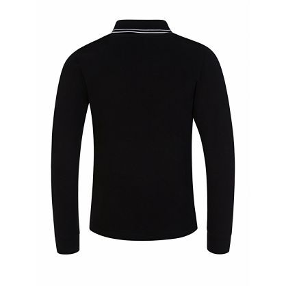 Junior Black Long Sleeve Polo Shirt