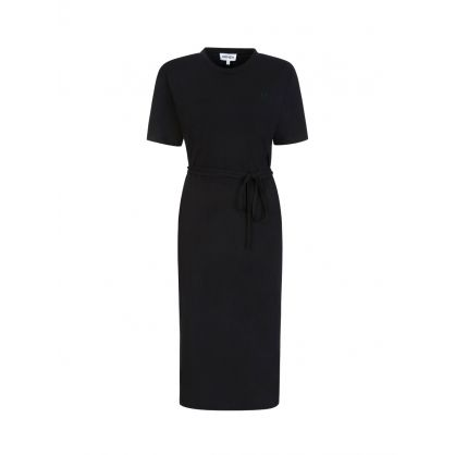 Black Long-Belted T-Shirt Dress