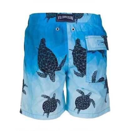 Junior Blue 3D Turtle Football Swim Shorts