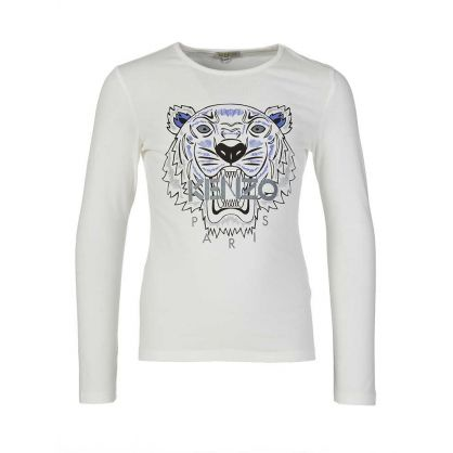 Cream Long Sleeved Tiger T-Shirt