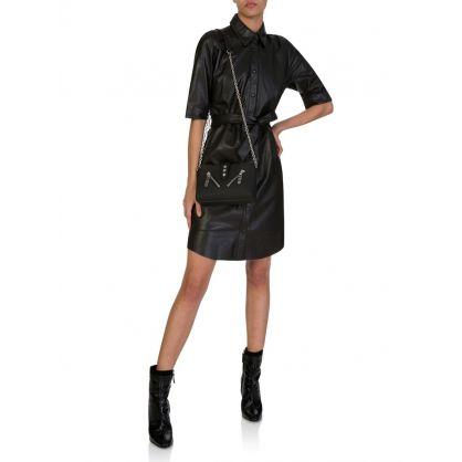 Black Leather Baroon Shirt Dress