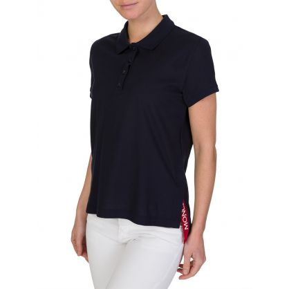 Navy Logo Side Detail Polo Shirt