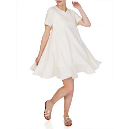 Cream Zip Side Detail Ruffle Dress