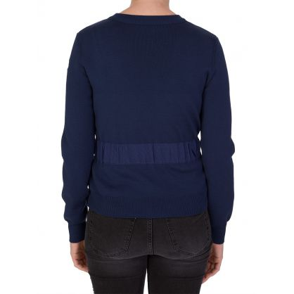 Navy Down Panel Zipped Knitted Jacket