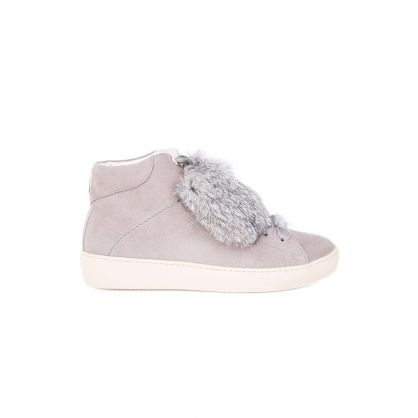 Beige Moon Fur Mid Trainers