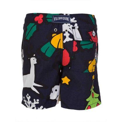 Junior Navy Christmas Swim Shorts