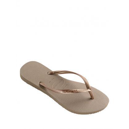 Rose Gold Slim Flip-Flops