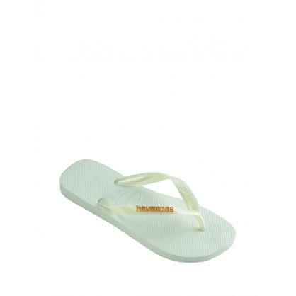 White Logo Metallic Flip-Flops