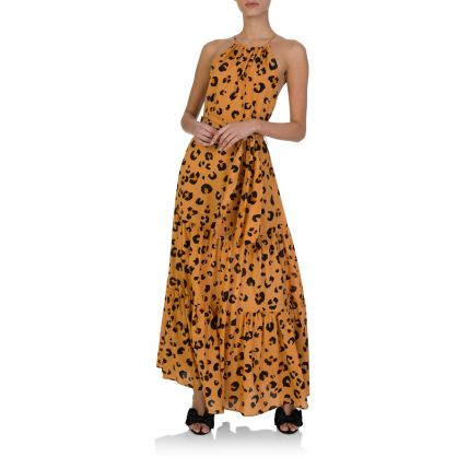 Orange Leilani Leopard Print Maxi Dress