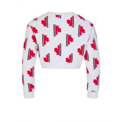 Kids White Maple Leaf Cropped Sweatshirt