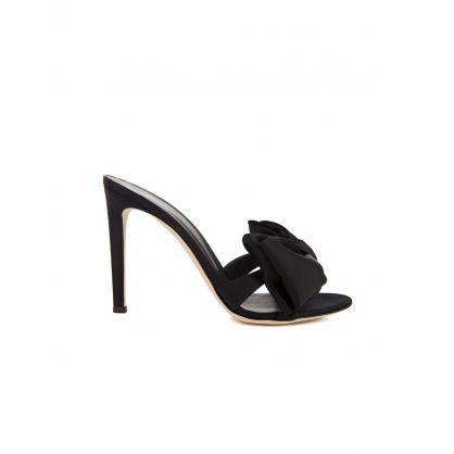 Black Hanna Silk Mule Sandals