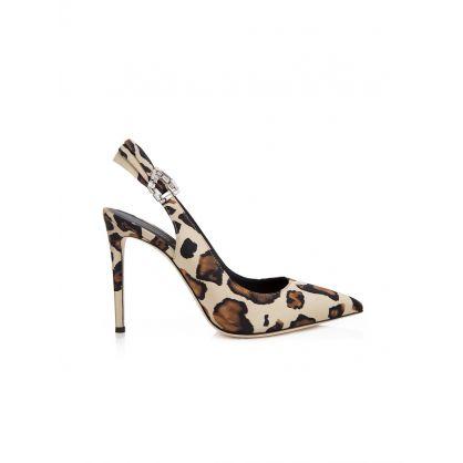 Samia Leopard Print Slingback Shoes