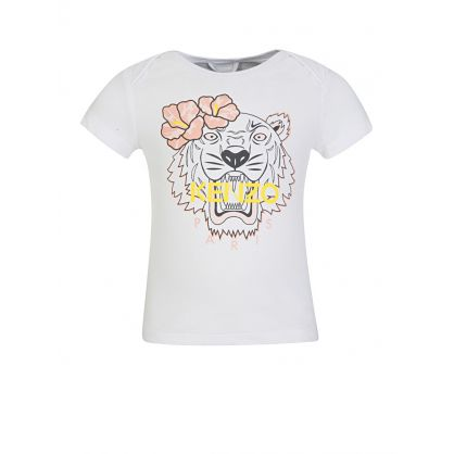 Baby  White Flower Tiger T-Shirt